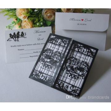 Open Love Door Coração oco com pássaro amoroso Corte a laser Preto e branco Convites de casamento Card Laser Cut ML280