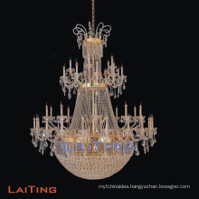 High Quality Big Customized Golden Project Crystal Chandelier Pendant Light Lamp for Church Banquet Hall Hotel Lobby