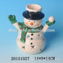 Weihnachtsmann / Schneemann Keramik Teelicht Kerzenhalter