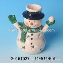 Porte-bougie en céramique en céramique Santa Claus / Snowman