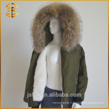 Winter New Women Army Green Custom Thick Fox Raccoon Fur Parka