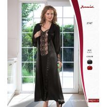 Transparent Black Robe and Nightdress Set