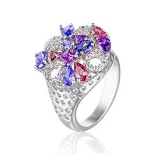 Moda elegante anel redondo com cz colorido