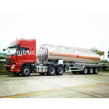 Remolque de tanque de combustible de acero inoxidable de 3 ejes con capacidad de 46000 L con 4 compartimentos