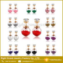 Customized prong setting CZ Stone Pearl Earring Studs