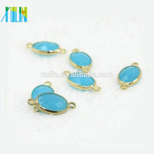 Crystal Oval Stone Connector, Earring Component, Jewelry Supplies Matte Gold -Plated - 12pcs/bag CA003 favorite Crystal