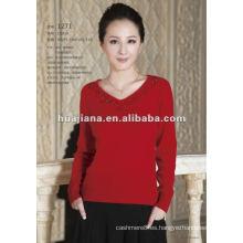 Suéter de cuello en V de cachemir de mujer de buena calidad