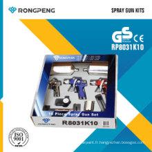Rongpeng R8031k10 10 PCS pistolets de pulvérisation d'air Kits de pulvérisation d'air
