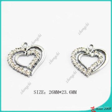 Zinc Alloy Silver Metal Heart Charm