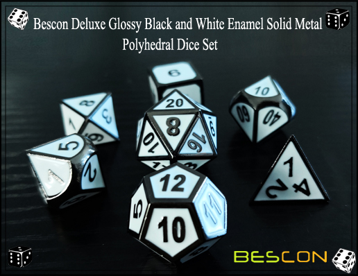 Bescon Deluxe Glossy Black and White Enamel Solid Metal Polyhedral Role Playing RPG Game Dice Set (7 Die in Pack)-3