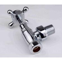 Válvula de radiador de ângulo de latão com placa de cromo