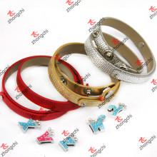 Классический 8мм двойной круг кожаный браслет ювелирные изделия для леди (B-24)