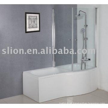 Banheira acrílica em forma de P, banheira para bebês, banheira acrílica quadrada