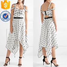 Épaule froide sans manches asymétrique blanc et noir imprimé robe d'été fabrication en gros de mode femmes vêtements (TA0301D)