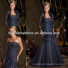 HM2012 Elegant fashion long sleeve jacket beaded and lace appliqued on tull taffeta handmade flower mother of the bride dresses