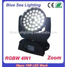2015 guangzhou éclairage rgbw 4in1 36x10w conduit la tête de lavage en mouvement
