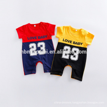 Baby clothes 2016 basketball sport designer cheap fancy boys popular summer plain organic cotton baby romper