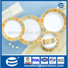 Decalque clássico simples barato com porcelana de alta qualidade composto jantar ware set
