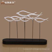 oferta de fábrica de guangzhou presente decoração resina resumo figura de peixe alta qualidade para decoração de casa