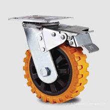 Rouleau en PU à frein à pédale à double pédalier à service lourd (KHX3-H10-A)