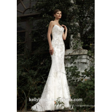 ZM16037 New Arrival Mermaid Sexy Sleeveless Bridal Gown Lace Appliques Celebrity Wedding Dress