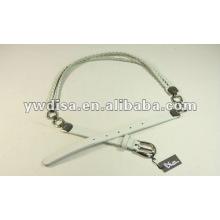 Cinturón de cuero real trenzado y metal