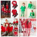 2017 en gros bébé bande de coton tricot doux ensembles enfants pyjamas de Noël