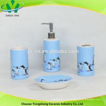 Pinguim, decalque, azul, banheiro, acessório, jogo, cerâmico
