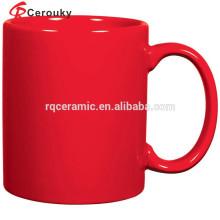 Logotipo personalizado impreso taza de leche de cerámica de cuerpo recto rojo