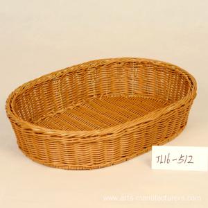 Oval Plastic Rattan Storage Basket