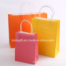 Printing Kraft Paper Shopping Carrier Bag with Twisted Handle