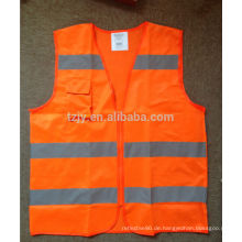 Orange reflektierende Sicherheitsweste mit Reißverschluss und Tasche