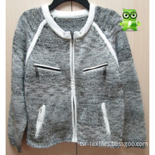 Ladies' Knitted Fashion Sweater with Woven Fabric