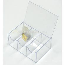 Boîte de rangement de sac à thé en acrylique transparent 6 sections