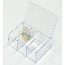 Personalized Clear Acrylic 6 Section Tea Bag Storage Box