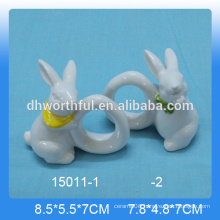 Fabulous rabbit shaped ceramic napkin rings decoration for modern tableware