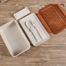 Eco-friendly Wheat Straw Plastic Kids Lunch Box Cutlery