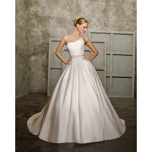 Ball Gown One-shoulder Chapel Train Taffeta Beading Bowknot Wedding Dress
