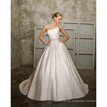 Un hombro capilla tren tafetán rebordear Bowknot vestido de novia