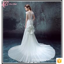 Faddish Cap Sleeve Floor-Lenghth China Alibaba Sheath Sample Sale Wedding Dress