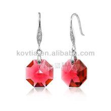 Großhandel eleganten roten Diamant Kristall baumeln Ohrringe für Damen