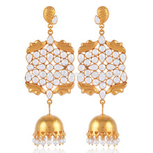 Cubic Zirconia, Pearl and Gold Plated Jhumka Earring