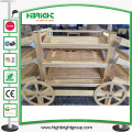 Frutas de madeira carro e legumes Display Racks para lojas