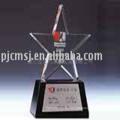 Premio de trofeo de cristal K9 en forma de estrella de color