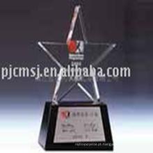 prêmio de troféu de cristal colorido K9 de forma de estrela