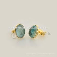 Лучшее Качество Стерлингового Серебра 925 Позолоченные Серьги Драгоценных Камней Безель, Природных Драгоценных Камней Серьги Ювелирные Изделия Производитель