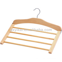 4 tiers space saving wooden trousers hanger