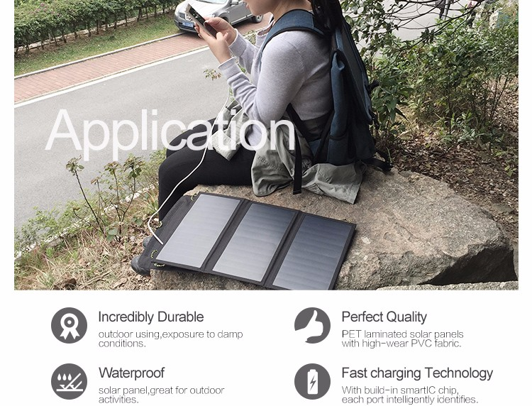 solar panel backpack charger application