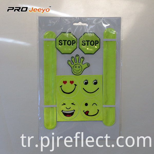 Reflective Smile Pvc Slap Warp Sticker Set Wb Swss001