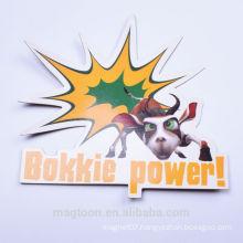 2016 custom made cheap cute animal cattle design kids paper fridge magnets for toys